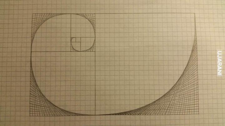 Spirala Fibonacci-ego namalowana tylko liniami prostymi