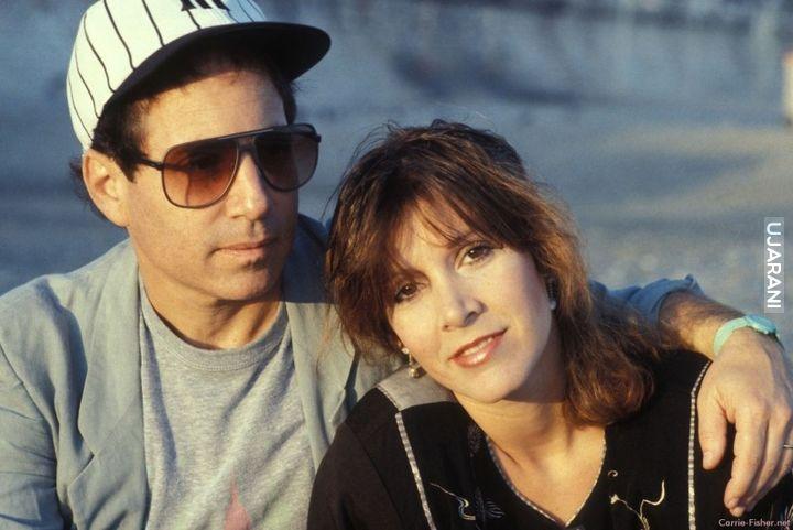 Paul Simon i Carrie Fisher zaraz po ślubie, 1983