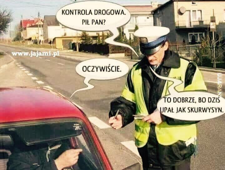 Dlaczego pan policjant ma na sobie ciepła kurtkę