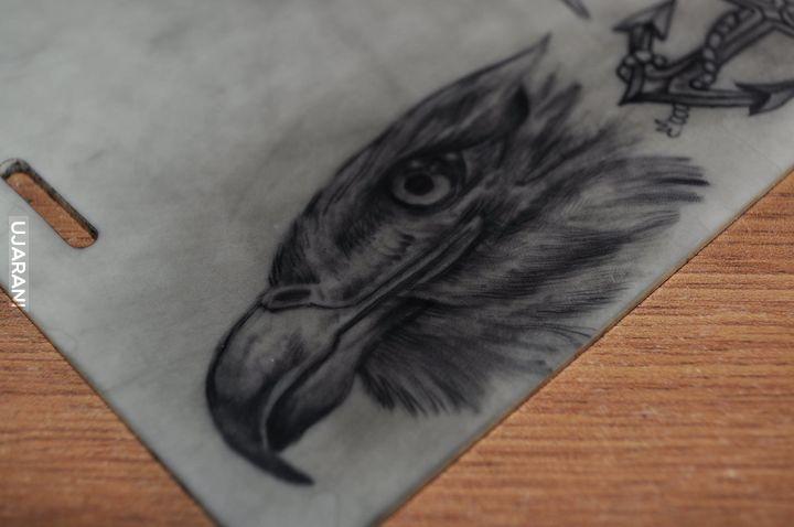 Orzeł, własne, sztuczna skóra tattoo :)