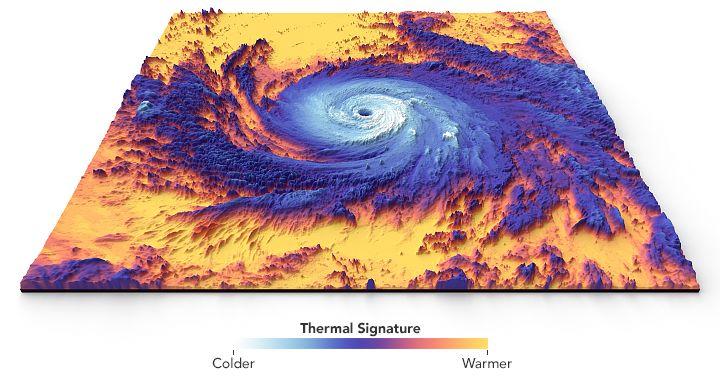 Huragan Maria obraz termiczny