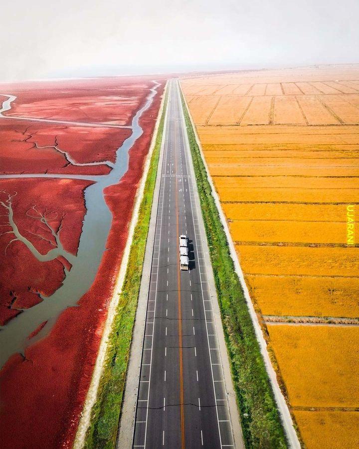 Droga w Red Beach, Chiny.