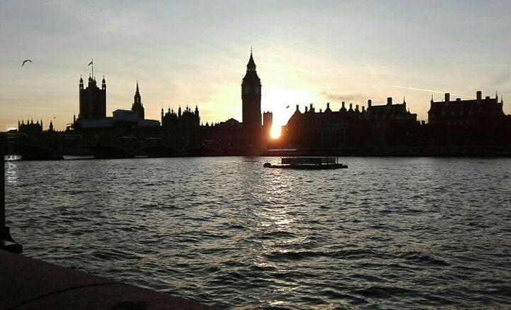 Londyn, zachód slonca, Big Ben