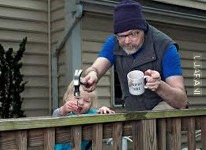 Kiedy tata pije kawę.