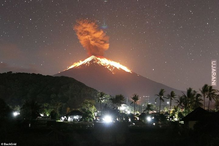 Erupting Volcano In Bali Last Night