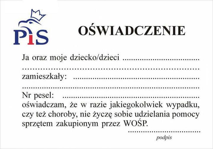 Proszę podpisz i włóz do portfela jak krzyczysz głupoty na Owsiaka