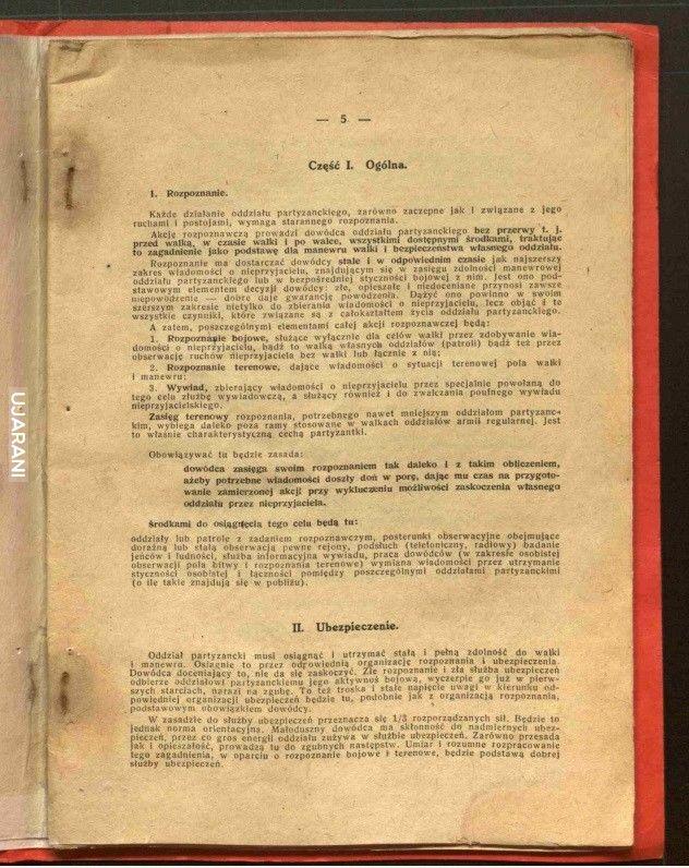 Instrukcja walk partyzanckich (druk. Miecz i Pług Warszawa 1937)