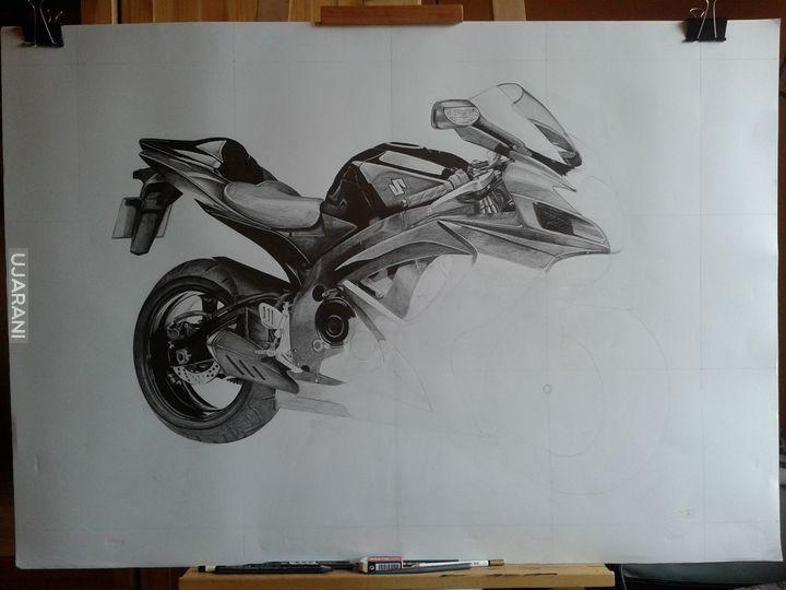 Motocykl. Pierwszy duży format ołówkiem :)