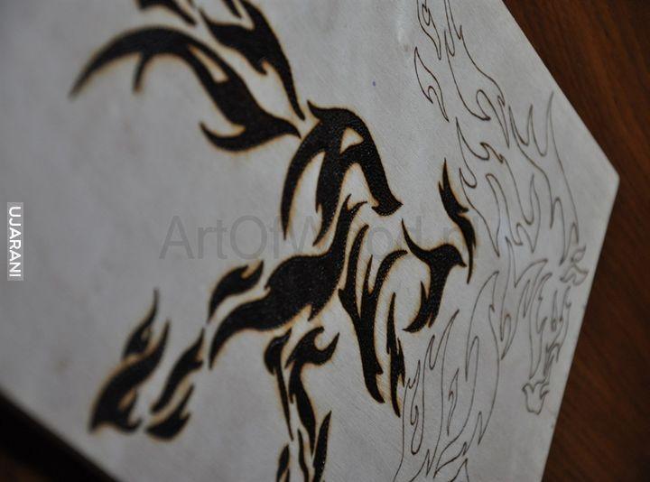 Koń tribal, Pirografia