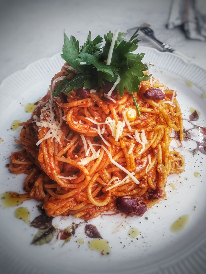 Spaghetti ala chilli con carne