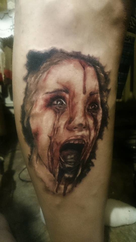 Creepy Face Tattoo