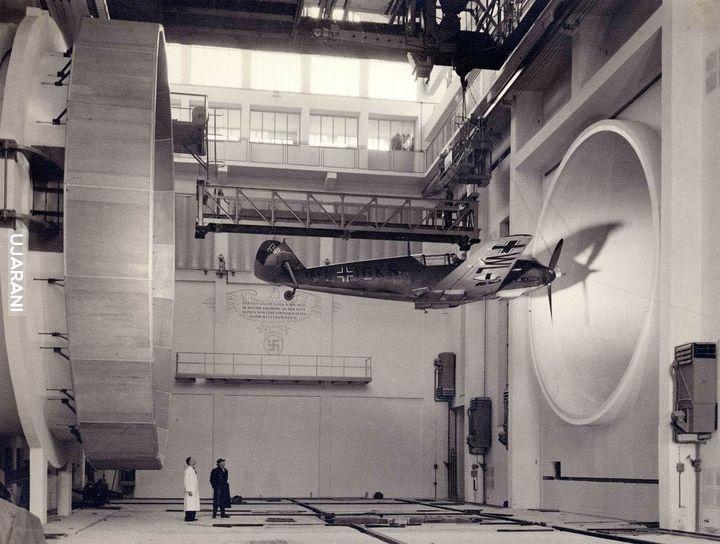 Messerschmitt Bf-109 w tunelu aerodynamicznym - 1940 rok