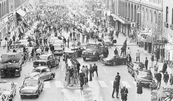 Szwecja, 1967 - po zmianie ruchu z lewostronnego na prawostronny