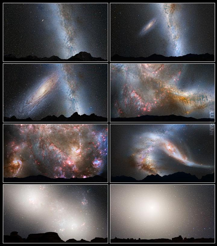 Przewidywany widok nieba w kolizji Drogi Mlecznej z galaktyką Adndromedy