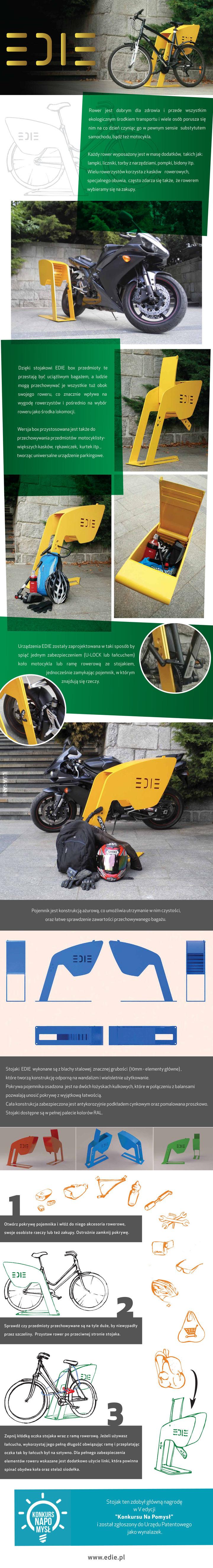 EDIE- urządzenia parkingowe do przechowywania rzeczy dla rowerzystów i motocyklistów