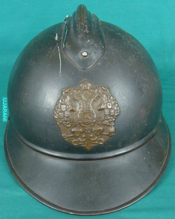 Francuski hełm wz.15 Adrian z emblematem carskiej Rosji