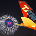 A340 and fireworks
