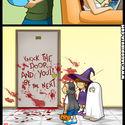 Dekoracja drzwi na halloween.