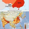 gęstość zaludnienia w chinach i azji